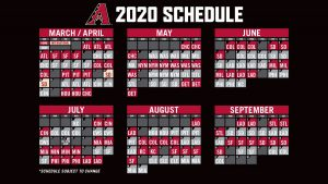 Arizona Diamondbacks 2020 Schedule